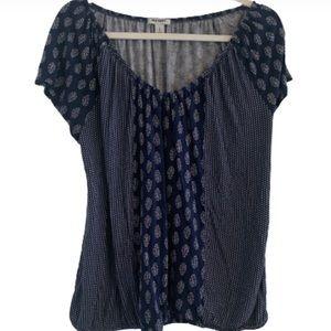Old Navy Large Blue Blouse Women U Neck Shirt Top